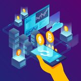 Vector illustration -  cryptocurrency exchange. Vector concept illustration -  cryptocurrency exchange process. Modern bright banner template with place for your royalty free illustration