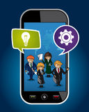 Business people mobile phone world map concept web Royalty Free Stock Images