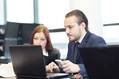 Business people in modern office. royalty free stock photos