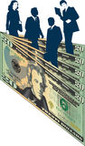 Business People and Money. Business People standing amongst twenty dollar bills stock illustration