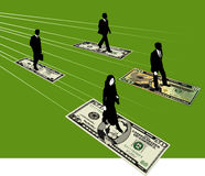 Business people and money. Abstract illustration of business people on the move with dollar bills at their feet Stock Image