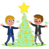 Business people with money Christmas tree Stock Images