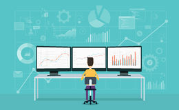 Business people on monitor report graph and business analyze Stock Photos