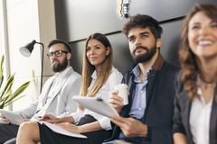 Business people on a morning briefing stock photos