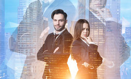Business people in a morning city Royalty Free Stock Photography