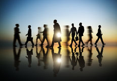 Business People in Motion Blurred Stock Images