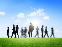 Business People in Motion on a Brand New Day Royalty Free Stock Photos