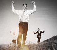 Business People on The Mountains Cheerful Running Concept Royalty Free Stock Photos