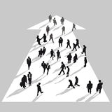 Business people moving in white arrow Royalty Free Stock Image