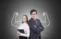 Business people and muscular hands sketch royalty free stock image