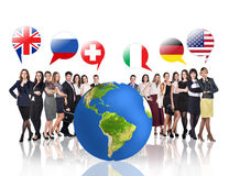 Business people near big earth and flag bubbles Royalty Free Stock Photos