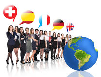 Business people near big earth and flag bubbles Stock Images