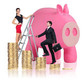 Business people near big piggy bank. Isolated on white Stock Photo