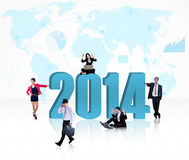 Business people with the new year 2014 Stock Images