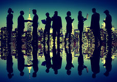 Business People New York Night Silhouette Concept Royalty Free Stock Image
