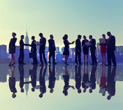 Business People New York Outdoor Meeting Silhouette Concept.  Stock Images