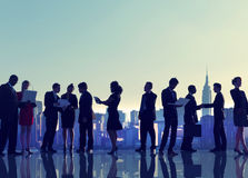 Business People New York Outdoor Meeting Silhouette Concept Stock Photos