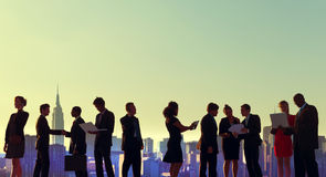Business People New York Outdoor Meeting Silhouette Concept.  Stock Image