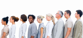 Business people-Odd person out in the line Royalty Free Stock Photo