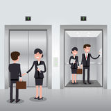 Business people in office building elevator, realistic chrome opened and closed doors. Royalty Free Stock Image