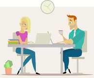 Business people in office. Business people in the office. Vector illustration Royalty Free Stock Images