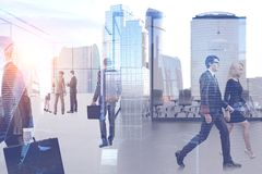 Business people in office, cityscape royalty free stock photography