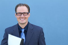Business, people and office concept - happy smiling businessman with glasses in suit Royalty Free Stock Photo