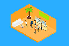 Business People In Office Hall Woman Reception Client 3d Isometric Royalty Free Stock Photography