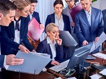 Business people office life of team people are happy with paper. Stock Photo