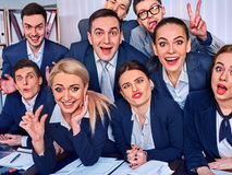 Business people office life of team people are happy with thumb up . Stock Photos