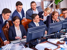 Business people office life of team people working with computer. Royalty Free Stock Photo