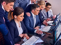 Business people office life of team people working with computer . Stock Images