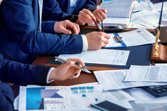 Business people office life of team people working with papers . Royalty Free Stock Images