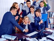 Business people office life of team people working with papers. Royalty Free Stock Photos