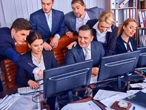 Business people office life of team people working with papers. Stock Image