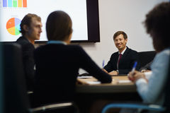Business People In Office Meeting Room With Charts On TV Stock Photo