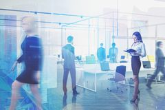 Business people in office, modern technology. Business people walking and working together in modern company office with double exposure of network hologram stock images