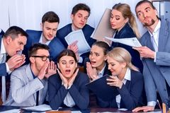 Business people office. Team people are unhappy with their leader. Intern manager does not cope with his duties. Crowd in stress. New employee in team royalty free stock photo
