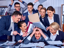 Business people office. Team people are unhappy with their leader. Stock Image