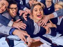 Business people office. Team people are unhappy with their leader. Stock Photo