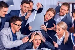 Business people office. Team people are unhappy with their leader. royalty free stock images