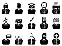 Business people with office tools icons set royalty free illustration
