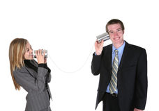 Business People on Old Phone Royalty Free Stock Photo