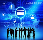 Business People with Online Fraud Concept. Group of Corporate People Discussing About Online Fraud Stock Photography