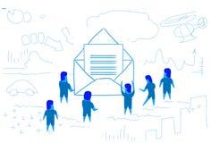 Business people opening envelope paper letter concept people group mail chat communication sketch doodle horizontal. Vector illustration vector illustration