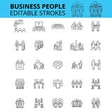 Business people ouline vector icons. Editable strokes. Group of business people signs set. Business team concept thin Royalty Free Stock Photo