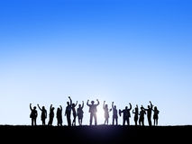 Business People Outdoors Celebrating Success Stock Photo
