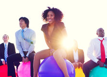 Business People Outdoors Cheerful Exercise Concepts Stock Image