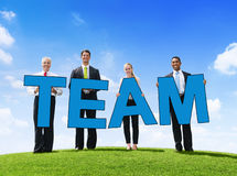 Business People Outdoors Holding Text Team Stock Photography