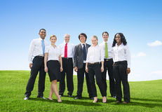 Business People Outdoors Posing and Looking at Camera Royalty Free Stock Image